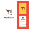 drinks creative logo and business card vertical vector image