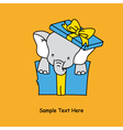 elephant inside a gift package vector image vector image