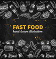 fast food hand drawn frame blackboard jun vector image vector image