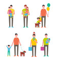 fathers day poster dads holding son and daughter vector image vector image