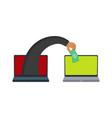 flat hacker hand stealing money from laptop vector image