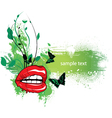 floral frame with mouth and butterflies vector image vector image