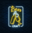 glowing neon beer craft signboard with glass of vector image