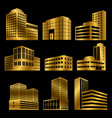 gold modern business buildings icons vector image