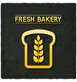 golden bread bakery symbol black background vector image
