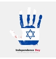 Handprint with the Flag of Israel in grunge style vector image vector image
