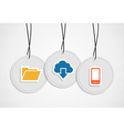 Hanging cloud computing badges set vector image vector image