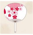 japanese fan red white sakura background im vector image vector image