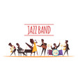 jazz band cartoon background vector image vector image