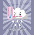 kawaii cloud rain drops cold thermometer weather vector image vector image