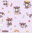 Kawaii raccoon seamless pattern cute animals