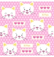 Kitten and hearts seamless pattern vector image vector image