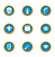 lethal icons set flat style vector image vector image