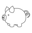 monochrome silhouette of piggy bank vector image vector image