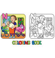 nanny with children coloring book alphabet n vector image vector image