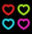 neon heart signs vector image vector image