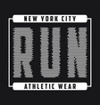new york print for running t-shirt of run vector image vector image