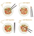 Noodles on plate vector image vector image