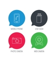 Photo camera mobile phone and Usb flash icons