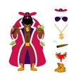 pimp set pocket full of cash bright clothing and vector image vector image