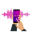 pink violet sound waves on screen of a smartphone vector image vector image
