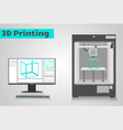 Printing in 3D vector image vector image