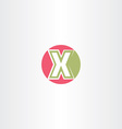 red green x letter circle logo icon vector image