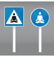 road sign with meditating person vector image vector image