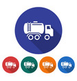 round icon of fuel truck flat style with long vector image