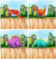 Scenes with many dinosaurs vector image vector image