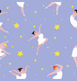 seamless pattern with dancing ballerinas on starry vector image