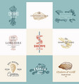 set premium quality retro seafood signs vector image vector image