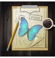 table top with sketching paper and butterfly vector image vector image