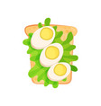 toasted bread slice with halves of boiled eggs and vector image