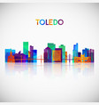 toledo skyline silhouette in colorful geometric vector image vector image
