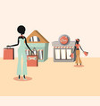 two women carrying handbags and retro stores vector image vector image