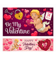 valentines day gifts love hearts and cupids vector image vector image