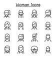 woman girl lady female mom icon set in thin line vector image vector image