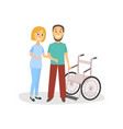 woman helps patient to stay near wheelchair vector image vector image