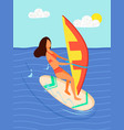 woman surfboarder riding on board with canvas sea vector image vector image