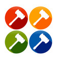 wood hammer silhouette circle symbol icon set vector image