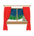 a window with a view of the decorated house vector image vector image