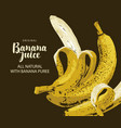 banner for juice with ripe bananas and inscription vector image
