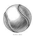 baseball hand draw vinatge style black and white vector image