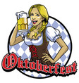 bavarian girl with a glass of beer vector image vector image
