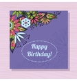 Birthday card with flowers in corner on wooden vector image vector image
