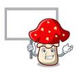 bring board amanita mushroom character cartoon vector image