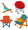 camping picnic patio chairs icon set vector image vector image