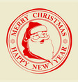 christmas seal with text and silhouette of santa vector image vector image