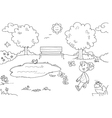 coloring young girl in park vector image vector image